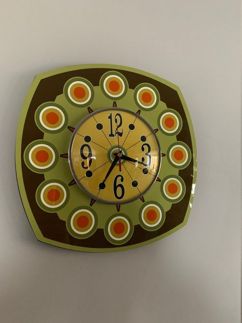 Handmade style Sunburst Large Formica Wall Clock in Avacado Dark Brown & with a Funky Bright Yellow Face from Royale