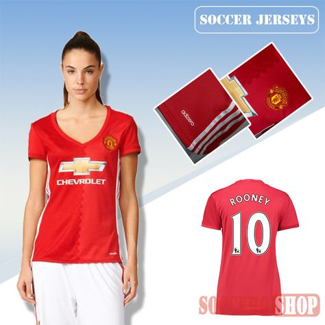 Newest Cool Manchester United Red 2016 17 Home Womens Replica Jersey With  Rooney 10 Printing  323294e385
