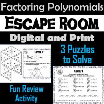 Factoring Polynomials Game Algebra Escape Room Math