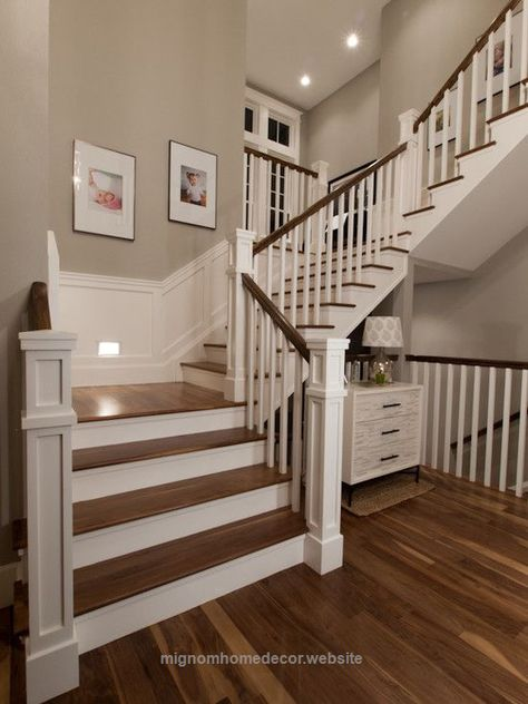 Cool Like the square newel posts. This is similar to what we could achieve with the white risers and dark wood tread and handrail. I think that the simplicity of the balusters would make them ..