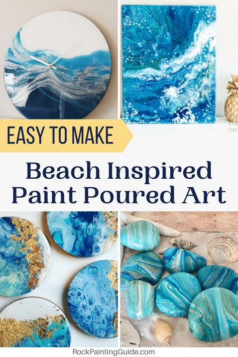 Do you love the coastal style? Try these beach inspired paint poured rocks to give your home decor a beachy vibe. Learn different paint pouring techniques step by step guide, top 10 tips and over 21 of our favorite coastal theme home DIY decor ideas! Seashell Crafts, Beach Crafts, Acrylic Pouring Art, Acrylic Painting Rocks, Matte Painting, Art Diy, Wie Macht Man, Rock Painting Designs, Painting Styles