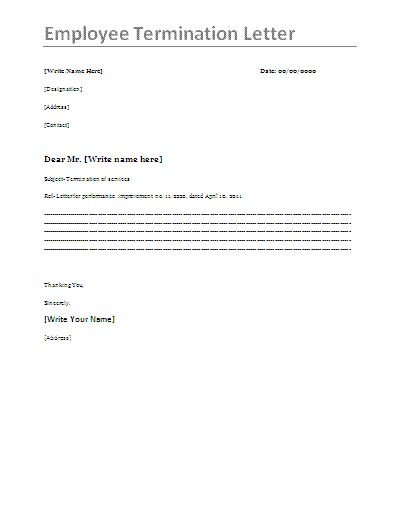 Printable Sample Letter Of Termination Form Legal Template - employee termination form