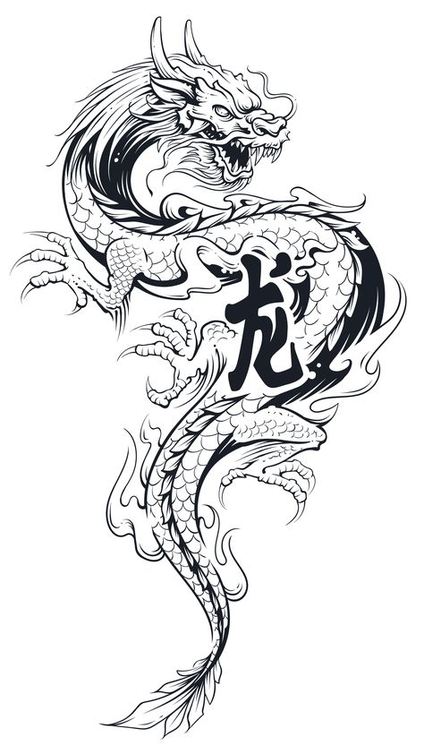 Black asian dragon tattoo Illustration isolated on white. : Black Asian Dragon Tattoo Illustration Isolated On White. Royalty Free Cliparts, Vectors, And Stock Illustration. Grey Tattoo, Tattoo Illustration, Japanese Dragon Tattoos, Asian Dragon, Japanese Tattoo Art, Tattoo Design Drawings, Black And Grey Tattoos, Japanese Tattoo, Asian Dragon Tattoo