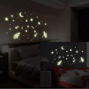 Estrelas Adesiva Fluorescente Naves Planeta Lua E Estrela Com