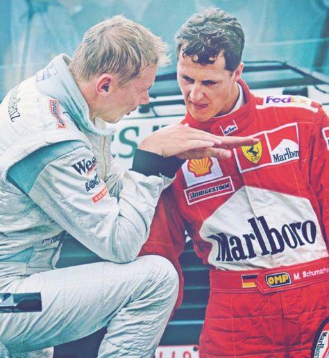 Michael Schumacher and Mika Hakkinen discuss overtaking at Spa, Belgium, 2000