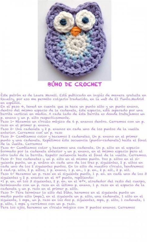 buho_de_crochet | ganchillo | Pinterest | Ganchillo, Tejido y Apliques