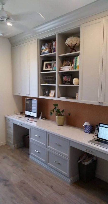 22 Ideas Home Office Space In Kitchen Craft Rooms For 2019 Home Office Cabinets Home Office Design Guest Room Office