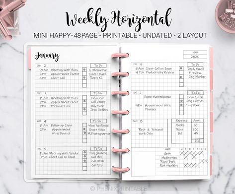 Weekly Planner Agenda Habit Tracker Horizontal Week on Two Page Mini Mambi Happy Planner Discbound HP Mini Planner PDF Printable Insert