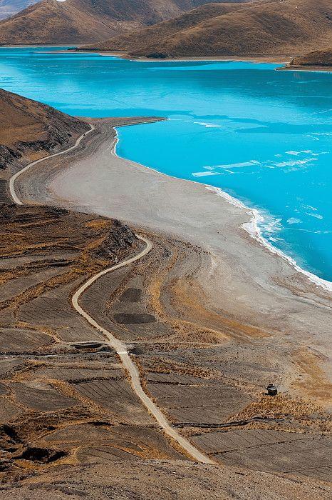 Tibetan Landscape with curvy road n river, Ihasa_ China