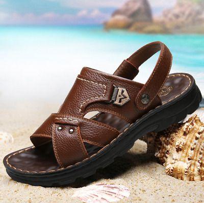 Men/'s Genuine Leather Fisherman Beach Sports Sandals Waterproof Shoes SIZE 7 8 9