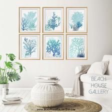Teal and Blue Wall Art, Beach House Gallery, Coastal Living Room Art, Aqua Turquoise Blue Prints