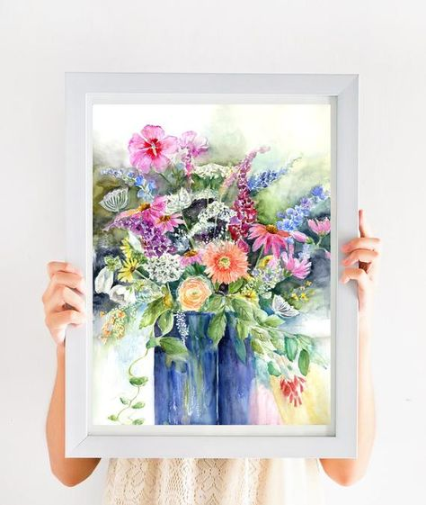 Wildflower Bouquet Still Life Wildflower Print Watercolor Floral