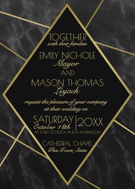 Marble And Gold Art Deco Geometric Slate Wedding Card Geometric Wedding Invitation Wedding Invitations Geometric Wedding