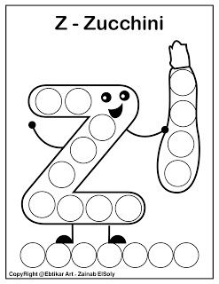 Set Of Abc Dot Marker Coloring Pages Letter Z For Zucchini Dot Markers Free Preschool Printables Alphabet Kindergarten Coloring Pages