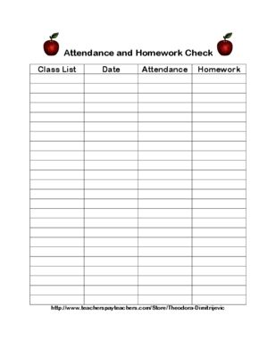 Get Organized Attendance And Homework Check From Easy As Abc On