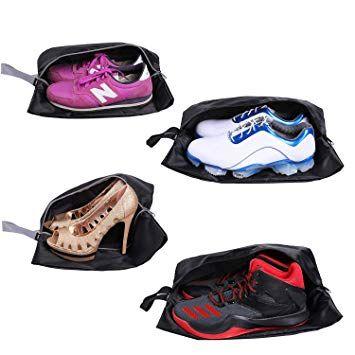 YAMIU Travel Shoe Bags Set of 4 Waterproof Nylon with Zipper for Men &  Women (Black)