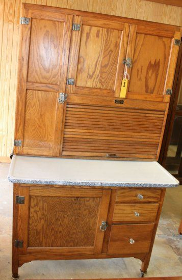 Sellers June Bride Antique Oak kitchen Hoosier Style Cabinet Early ...