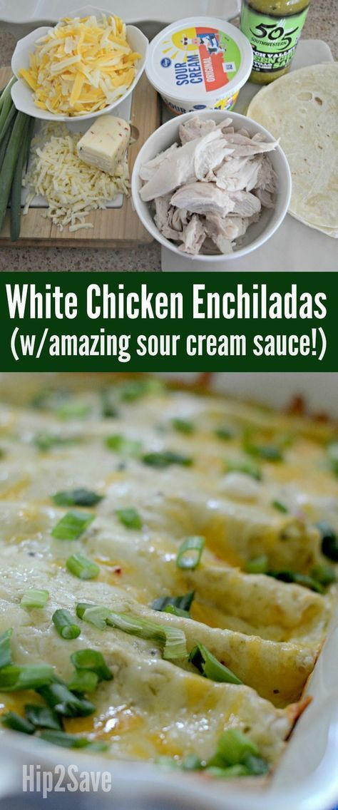 White Chicken Enchiladas Recipe Enchilada Recipes Sour Cream Enchiladas White Chicken Enchiladas