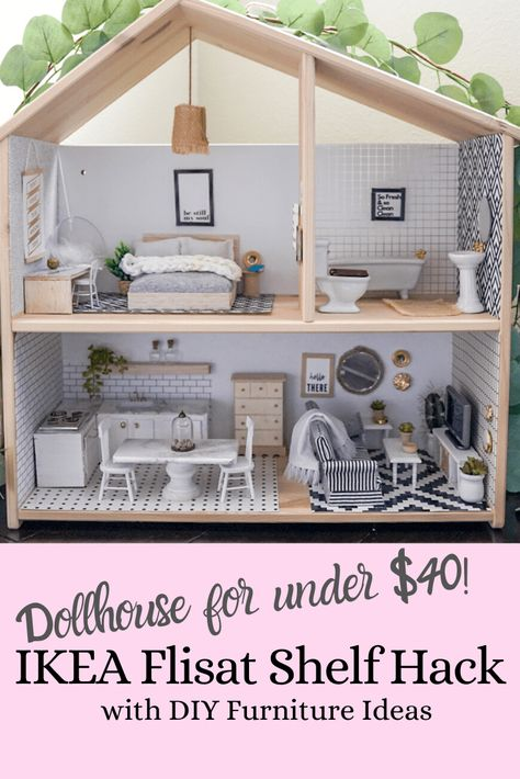 DIY Dollhouse and Miniature Furniture using the Ikea Flisat shelf - Treehouse Threads Ikea Dollhouse, Modern Dollhouse Furniture, Wooden Dollhouse, Miniature Furniture, Doll Furniture, Diy Dollhouse Miniatures, Dollhouse Interiors, Girls Dollhouse, Diy Furniture Projects