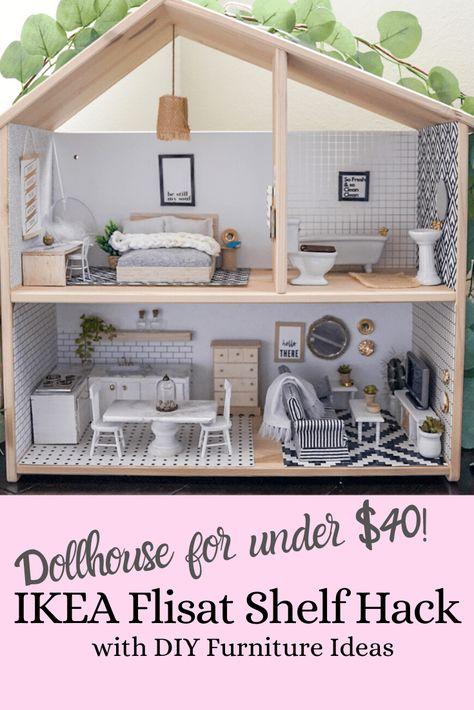 DIY Dollhouse and Miniature Furniture using the Ikea Flisat shelf - Treehouse Threads Modern Dollhouse Furniture, Miniature Furniture, Doll Furniture, Ikea Dollhouse, Wooden Dollhouse, Diy Dollhouse Miniatures, Dollhouse Shelf, Girls Dollhouse, Miniature Dolls