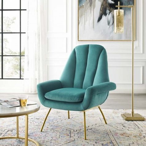 Teal Green Velvet Modern Accent Arm Chair In 2020 Woven Dining