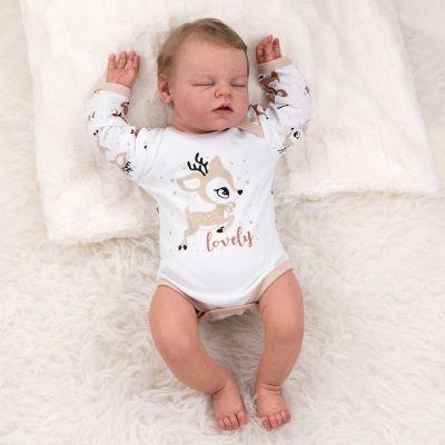 Baby Sweets Unisex Kurzarm Body Bio Baumwolle beige braun Mini Woof