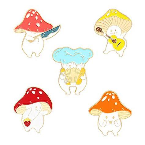 Enamel Pin Brooches Cute Mushroom Lapel Badge Cartoon Plant Enamel Pin Set for Backpack Cloths Hats Funny Button Pins Jewelry Set | Jodyshop