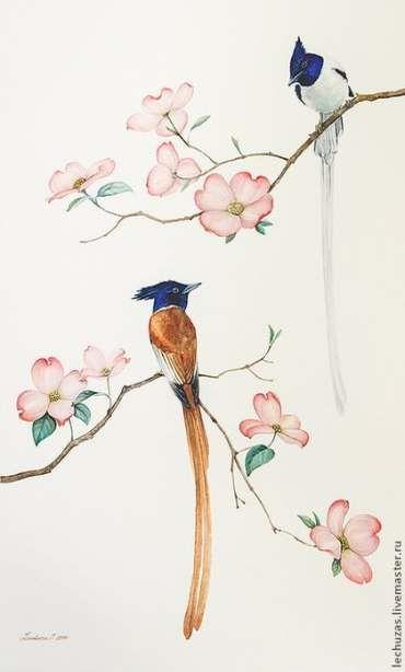 New chinese bird painting flower 66+ ideas #painting #bird