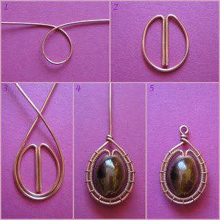 Easy way to wire-wrap a pretty bead #handmade #jewelry #pendant #charm