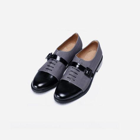 Holyrape 牛皮拼灰色布面扣袢爵士鞋