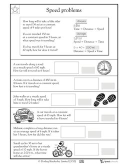 average speed for 5th graders | 4th Grade Math Word Problems ...