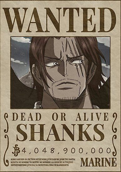 Shanks Wanted Poster Wallpaper