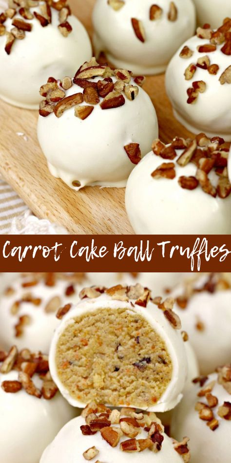 Carrot cake ball truffles are an elegant take on Easter candy. This fun springtime candy puts a new twist on classic carrot cake flavor. These carrot cake truffles would be a festive end to any springtime celebration. #carrotcake #dessert #cakeball #caketruffles #carrotcakerecipe #carrotcaketruffles #cakedesserts