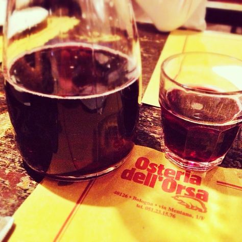 Red wine in Bologna, Italy