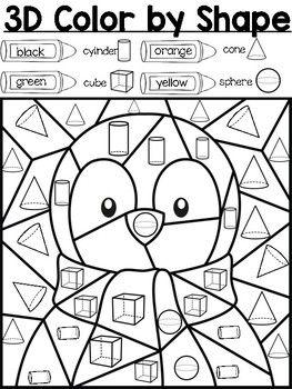 3d Penguin Color By Shape Shapes Kindergarten Shape Activities Kindergarten Penguin Coloring
