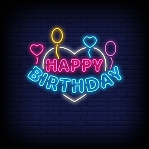 Happy birthday neon signs style text Pre...   Premium Vector #Freepik #vector #birthday #abstract #party #gift