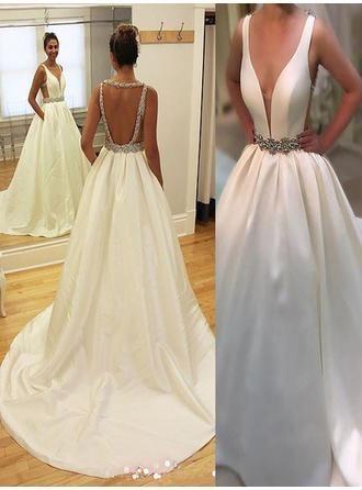Us 165 00 Court Train A Line Princess Fashion Satin Wedding Dresses Lalamira Ball Gowns Wedding Online Wedding Dress Wedding Dress Train