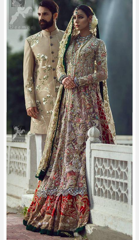 Here are the latest Pakistani bridal lehenga choli designs which includes different styles of choli, mid-length kurti, knee length kurti and long kurti with lehenga.