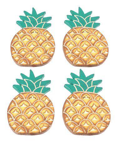 Look At This Zulilyfind Pineapple Coaster Set Of Four Zulilyfinds Coaster Set Pineapple Design Pineapple Decor