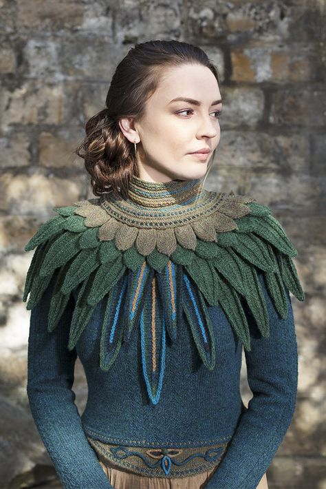 Knitting Patterns Wear Lapwing Collar patterncard knitwear design by Alice Starmore in pure wool Hebridean hand knitting ya.