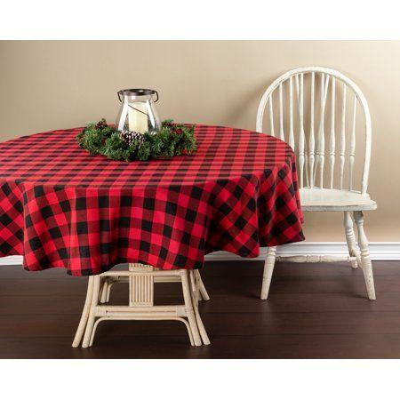 Holiday Time 70 Round Buffalo Plaid Tablecloth Walmart Com Plaid Tablecloth Table Cloth Round Tablecloth