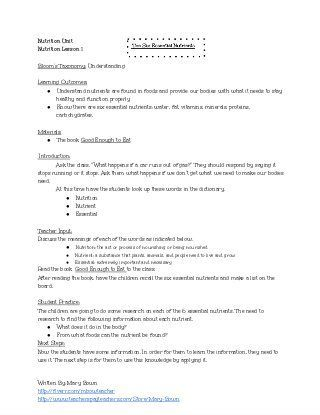 The Six Essential Nutrients Lesson Plan And Worksheet Nutrients Lesson Family And Consumer Science Education Lesson Plans