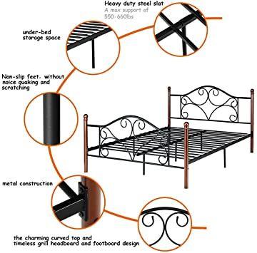 Metal Slats Headboard Footboard Black Queen Size Steel Bed Frame Platform Stable 84 X 61 5 X 40 L X W X H Steel Bed Frame Slatted Headboard Steel Bed Metal slats for queen bed