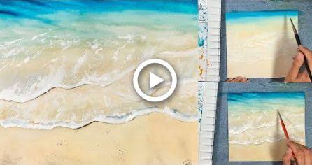 Easy Waves Watercolors Painting Tutorial Diy Painting In 2020
