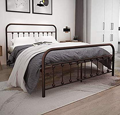 Amazon Com Metal Bed Frame Queen Size With Lantern Headboard And