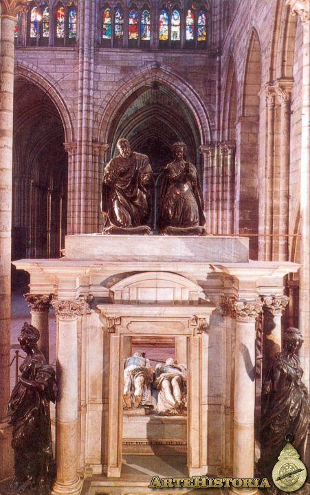 85. GERMAIN PILON (1530-90) partió de los mismos presupuestos; se familiarizó con el trabajo de PRIMATICCIO continuando el monumento funerario de Enrique II y Catalina de Medici En Saint Denis, que aquel había dejado inacabado.