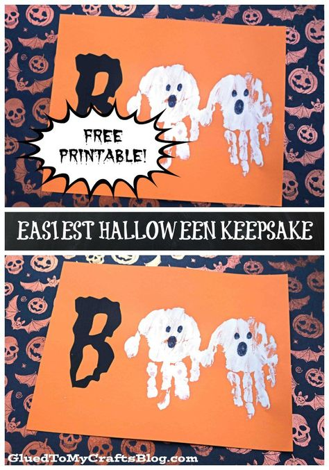 MONSTER HANDPRINT CARDS - these are too cute to make for Halloween! Monster Halloween craft for kids. Hey you - check out our EASIEST Halloween Ghost Keepsake Printable and get ready to hear your child say Printable Halloween, Theme Halloween, Halloween Arts And Crafts, Halloween Crafts For Toddlers, Halloween Tags, Halloween Designs, Fall Crafts For Kids, Halloween Ghosts, Fall Halloween
