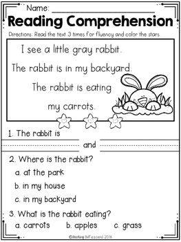 FREE Kindergarten Reading Comprehension (Spring Edition ...