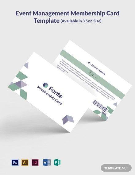 Event Management Membership Card Template Word Psd Indesign Illustrator Publisher Membership Card Card Template Digital Marketing Company