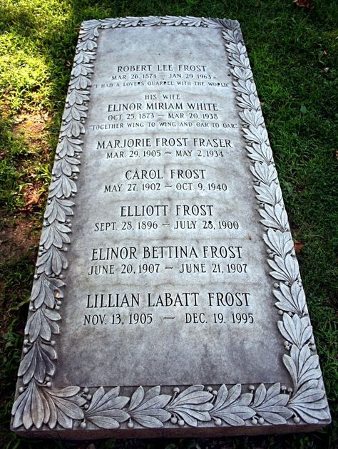 Graves of Robert Frost, his wife and children, Bennington, VT. Epitaph:
